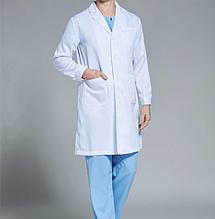 Классический мужской медицинский белый халат р.46-54