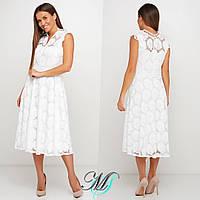 Шикарное женское белое платье из прошвы средней длины 42,44,46р.