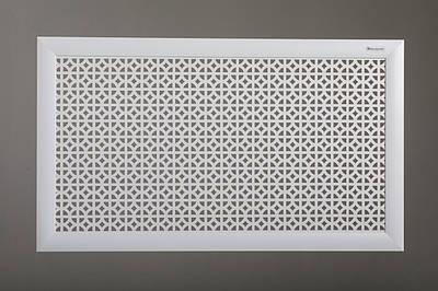 """Декоративная решетка на стальную батарею 50 см х 70 см """"Сталь"""" в комплекте с креплениями, цвет белый"""