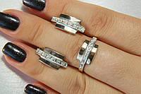 Комплект украшений из серебра и золота -кольцо и серьги