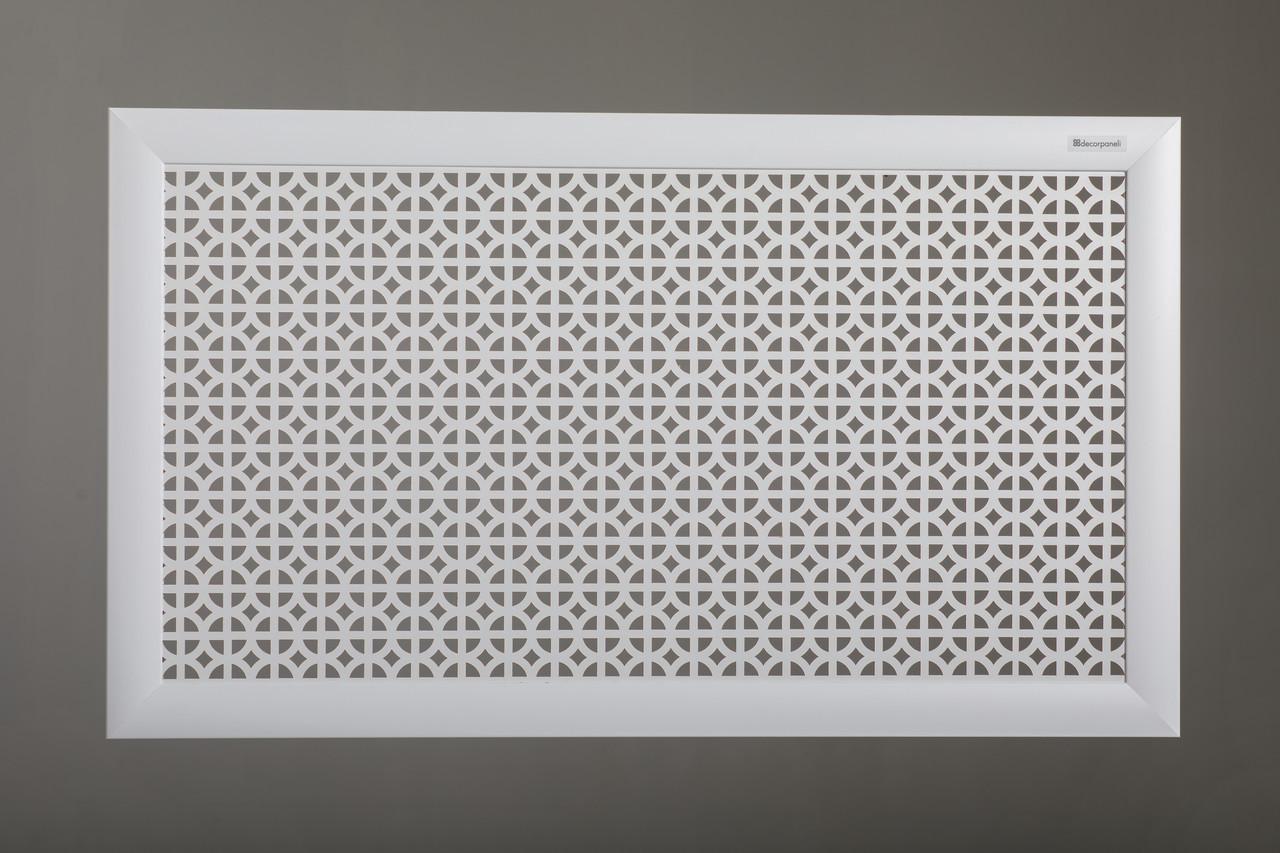 """Решетка для стальных радиаторов 50 см х 90 см """"Сталь"""" в комплекте с креплениями, цвет белый"""