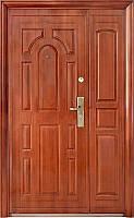 Наружные двустворчатые входные двери ААА 724 автолак медь на улицу