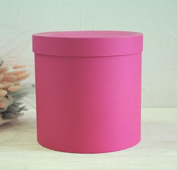 Картонная коробка Круг под цветы 150*170 мм Малиновый