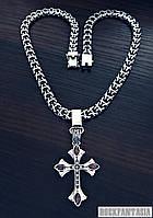 Серебряный мужской крестик Ренессанс и цепочка кардинал рамзес комплект