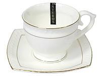 Чашка с блюдцем круглая фарфоровая белая Снежная королева Interos 506710-A  280 мл