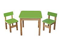 Стол деревянный  и 2 стульчика Эко набор  Зеленый