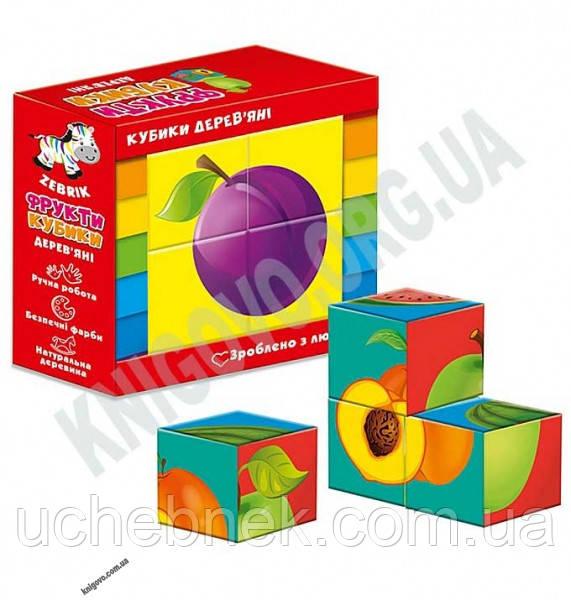 Гра настільна Кубики дерев'яні Фрукти Код ZB100104 Вид: Vladi Toys