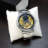 Оригинальные наручные часы Forsining 8177 Silver-Gold Механика с автоподзаводом