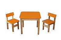 Стол деревянный  и 2 стульчика Эко набор Оранжевый