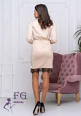 Бежеве вечірній приталене міні сукня з мереживом і кишенями, фото 3