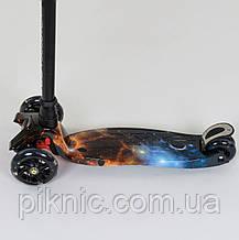 Самокат Космос для детей 3-6 лет, MAXI, 3 колеса светящиеся, PU. Детский транспорт, фото 3