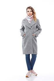 Интересное шерстяное женское пальто цвет серый, размер 40-48
