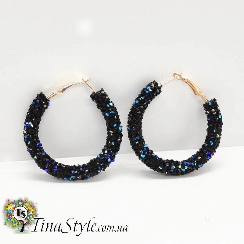 Серьги круги кольца черные белые австрийский хрусталь кристаллы камни круглые длинные сережки красный цвет