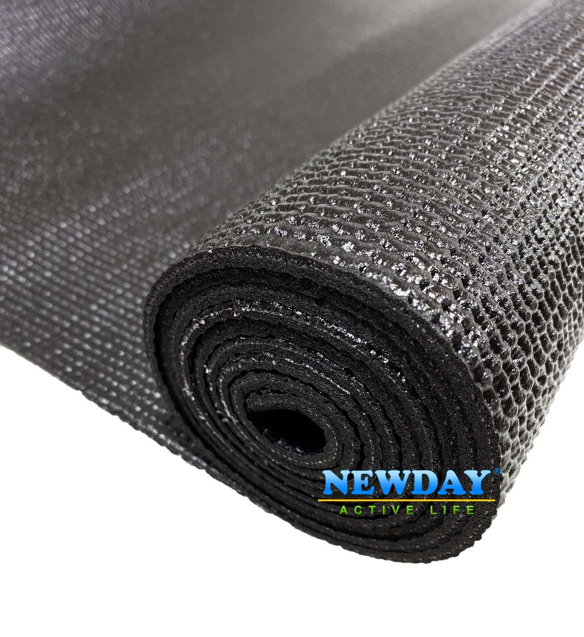 Коврик для йоги, фитнеса и аэробики 1730×610×4мм, PVC, однослойный, черный