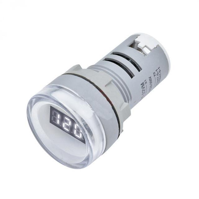 Цифровий вольтметр 220 вольт 1 фазний круглий білий