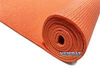 Коврик для йоги нескользящий 1730х610х4мм прорезиненный pvc, оранжевый
