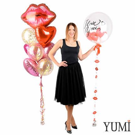 Воздушные шары на День святого валентина с сердцами, губами и любовной надписью, фото 2