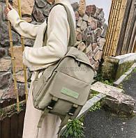 Рюкзак зеленый хаки в корейском стиле унисекс для ноутбука учебы