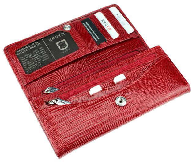 Женский кошелек Karya 1064-074 кожаный красный