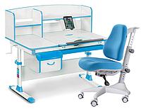 Комплект Evo-kids Evo 50 BL Blue (арт. Evo-50 BL + кресло Y-528 KBL)/(стол+ящик+надстройка+кресло)/ белая стол