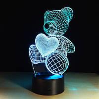3D Светильник Мишка с сердцем, 1 светильник- 16 цветов света. Подарки детям