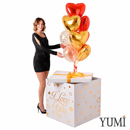 Коробка I love you с шариками сердечками для любимой на 14 февраля, фото 2