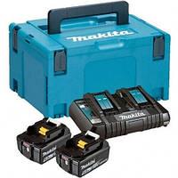 Набор аккумуляторов Makita LXT BL1850B x 2шт (18В, 5Ач) + заряд.устройство DC18RD, кейс Makpac3 (197629-2)