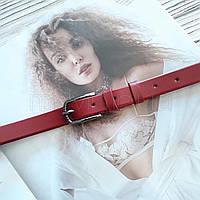 Тонкий женский кожаный ремешок Красный