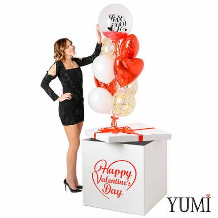 Коробка с шарами сердечками на День святого Валентина, фото 2
