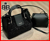 Женская сумка повседневная с длинным ремнем + клатч в подарок Zr ,цвет черный