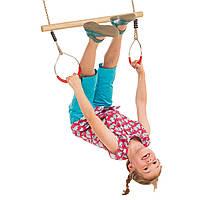 Дерев'яна трапеція дитяча з металевими кільцями metal rings для дітей, фото 1