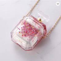 Противоударный чехол - Airpods Apple. Пластик.. жидкие блестки (розовый)