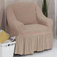 Чехол на кресло  с оборкой беж