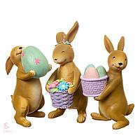 Набор статуэток Пасхальные кролики 8106-002. Пасхальный декор