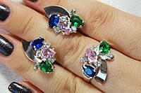 Комплект серебряных украшений с золотом и разноцветными камнями