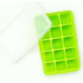 Силиконовая форма Ytech для льда с силиконовой крышкой 15 кубиков по 17 х 11 см салатовая