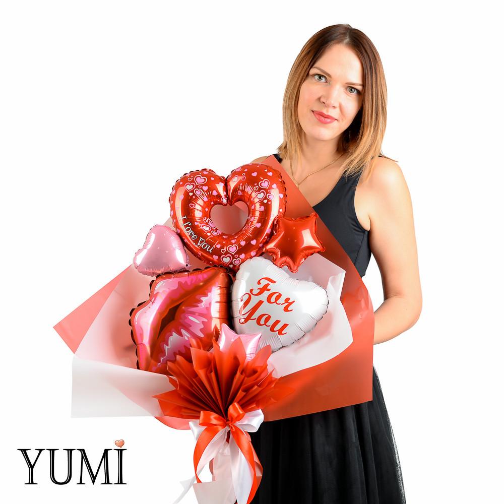 Букет из воздушных шариков сердечек For you