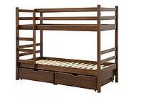 Дитяче ліжко КЕНГУРУ двоярусна з ящиками і ламелями