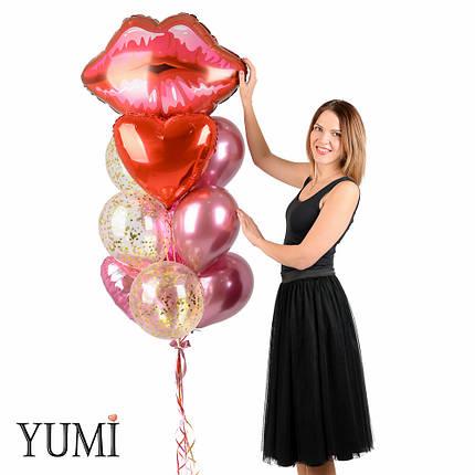 Воздушные шары сердечки в композиции с шарами с конфетти, хромированными шарами и губами на 14 февраля, фото 2
