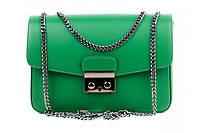Итальянская женская сумка из натуральной кожи. Цвет: Зеленый, фото 1