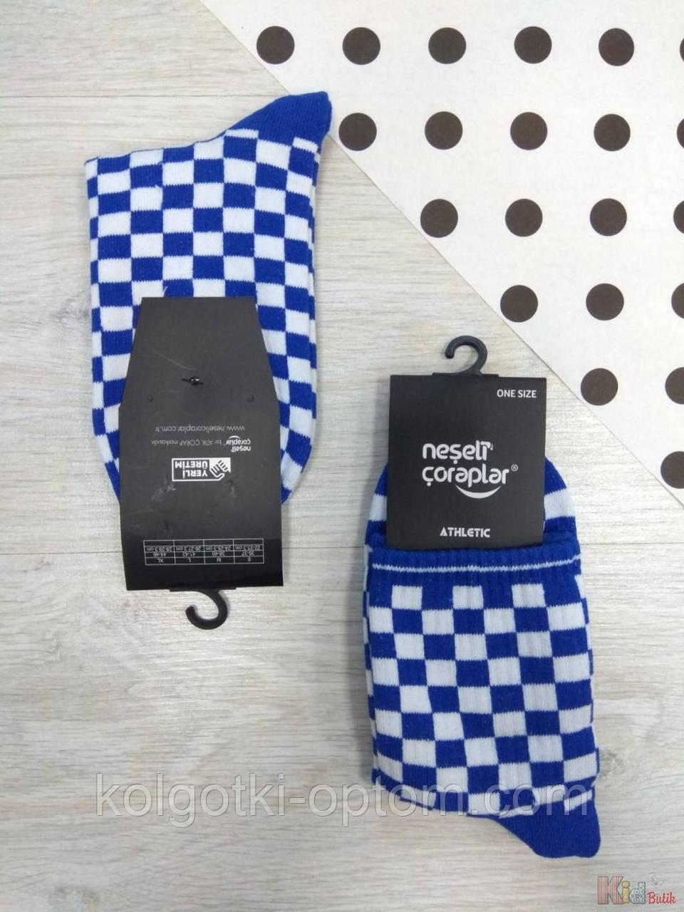 ОПТОМ Шкарпетки високі Athletic Шахмати синие р.37-43 (27 / L / 41-43 см.)  Neseli Coraplar 2125000653761