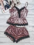 Пижама женская бархатная с кружевом. Комплект из топа и шортов велюровый для дома, сна, р. S (коричневый), фото 8