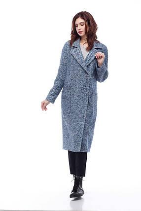 Дизайнерське пальто жіноче колір синьо-голубий, розмір 42-50, фото 2