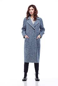 Дизайнерское женское пальто цвет сине-голубой, размер 42-50