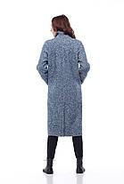 Дизайнерське пальто жіноче колір синьо-голубий, розмір 42-50, фото 3