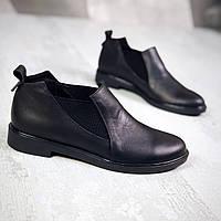 Стильные кожаные туфли на низком ходу 36-40 р чёрный, фото 1