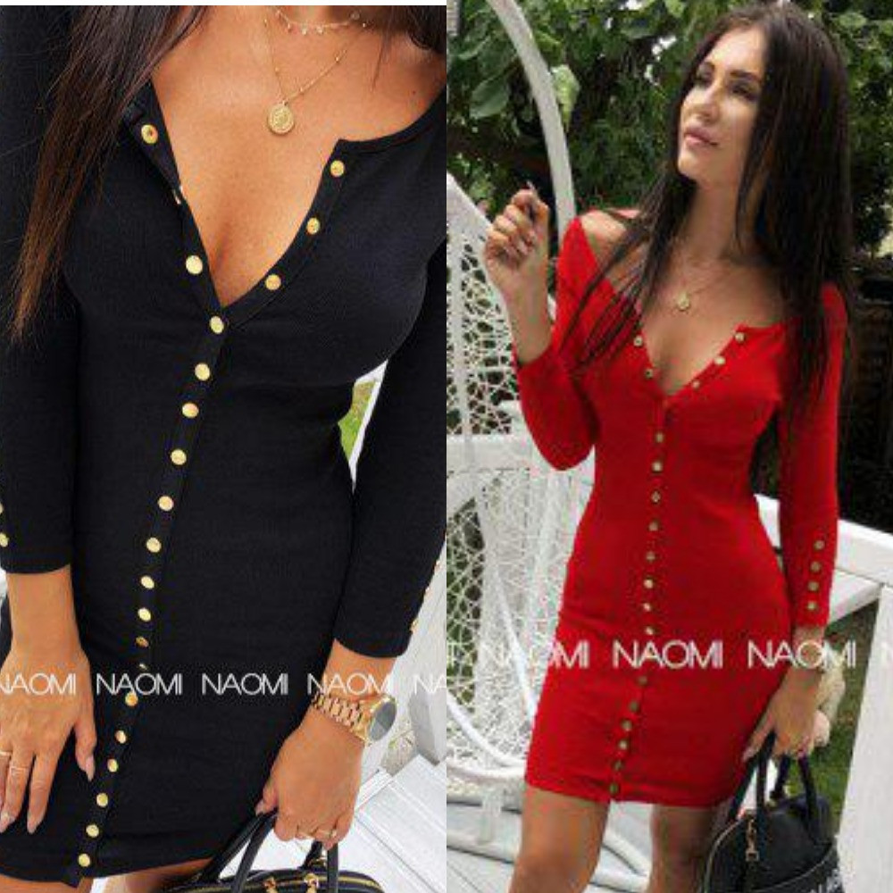 Платье женское, повседневное, на кнопках, облегающее, футлярное, с длинным рукавом, модное, до 48 р