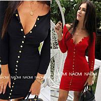 Платье женское, повседневное, на кнопках, облегающее, футлярное, с длинным рукавом, модное, до 48 р, фото 1