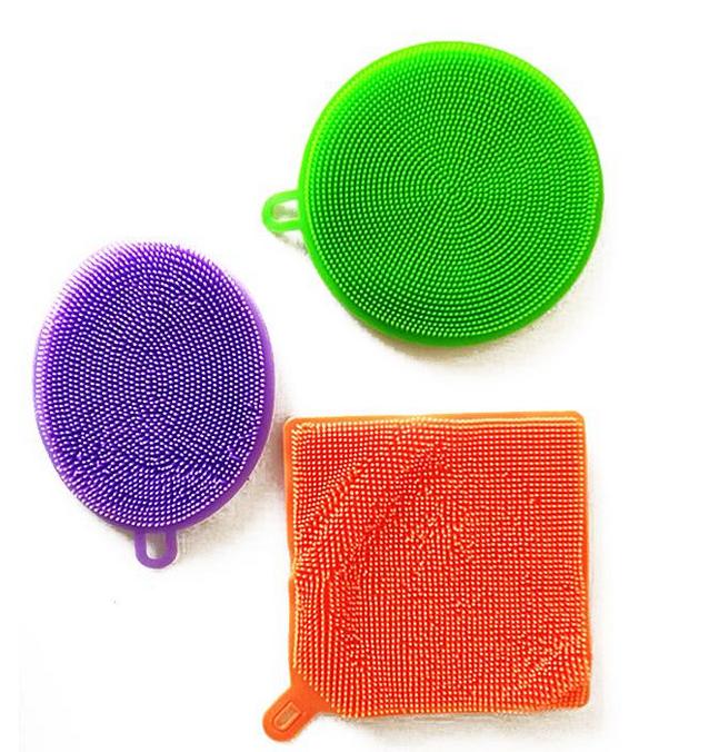 Кухонные силиконовые тряпки-щетки Better Sponge для мытья посуды без химии набор из 3-х штук
