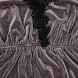 Піжама жіноча оксамитова з мереживом. Комплект з топа і шортів велюровий для дому, сну, р. M (коричневий), фото 6